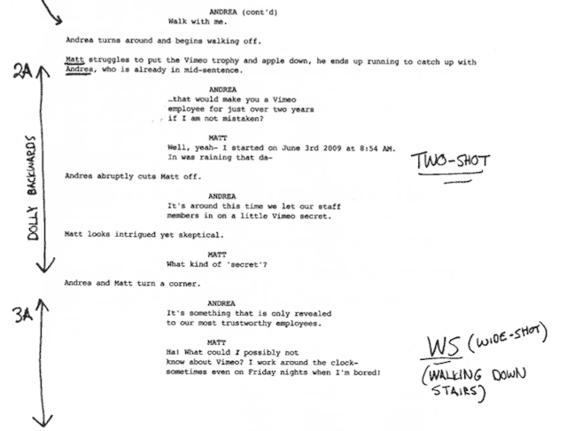 camera script template - making a shot list on vimeo