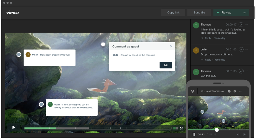 Video collaboration tools for video production teams by Vimeo