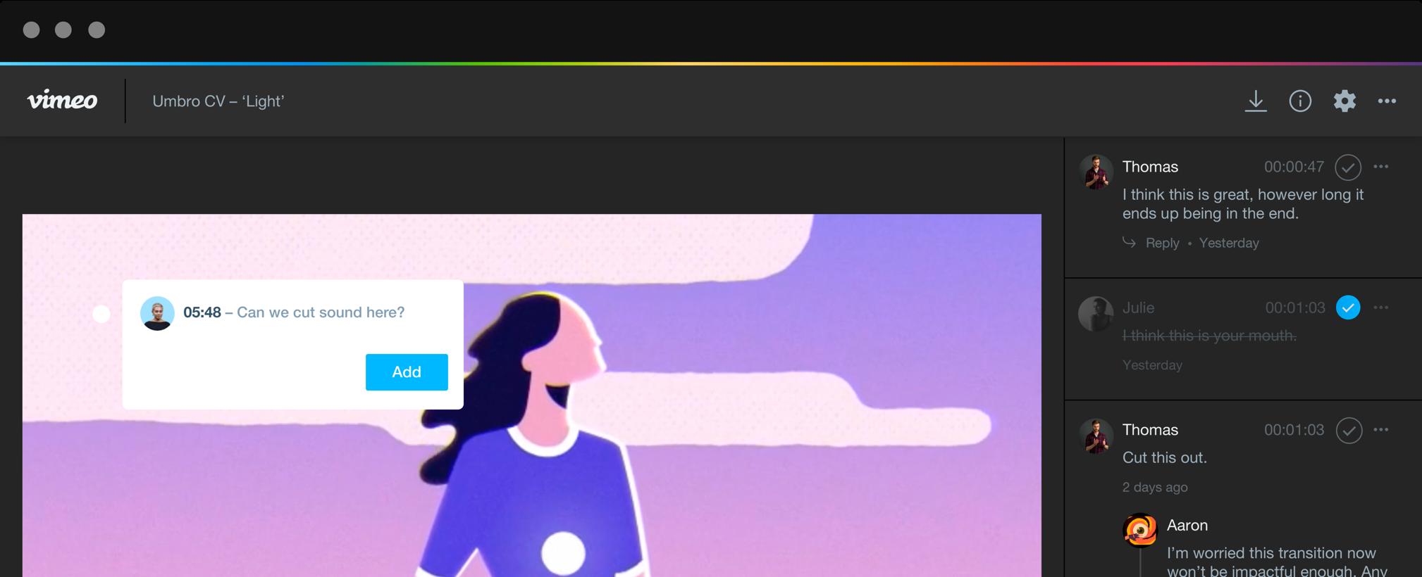 일러스트가 표시되는 리뷰 페이지. 검토자가 타임코드 메모를 작성하고 있고 현재 진행 중 및 해결된 메모들이 오른편에 표시됩니다.