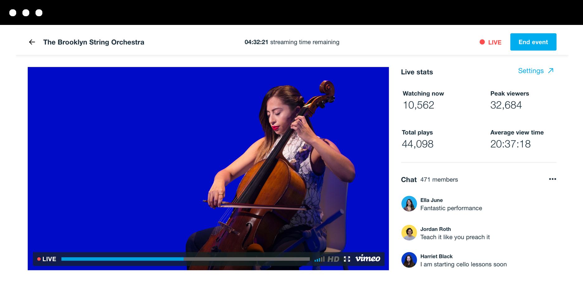 チェロ奏者によるライブ配信の静止画像。動画プレーヤーとライブ統計情報、視聴者チャットが右側にリアルタイムで表示される様子。