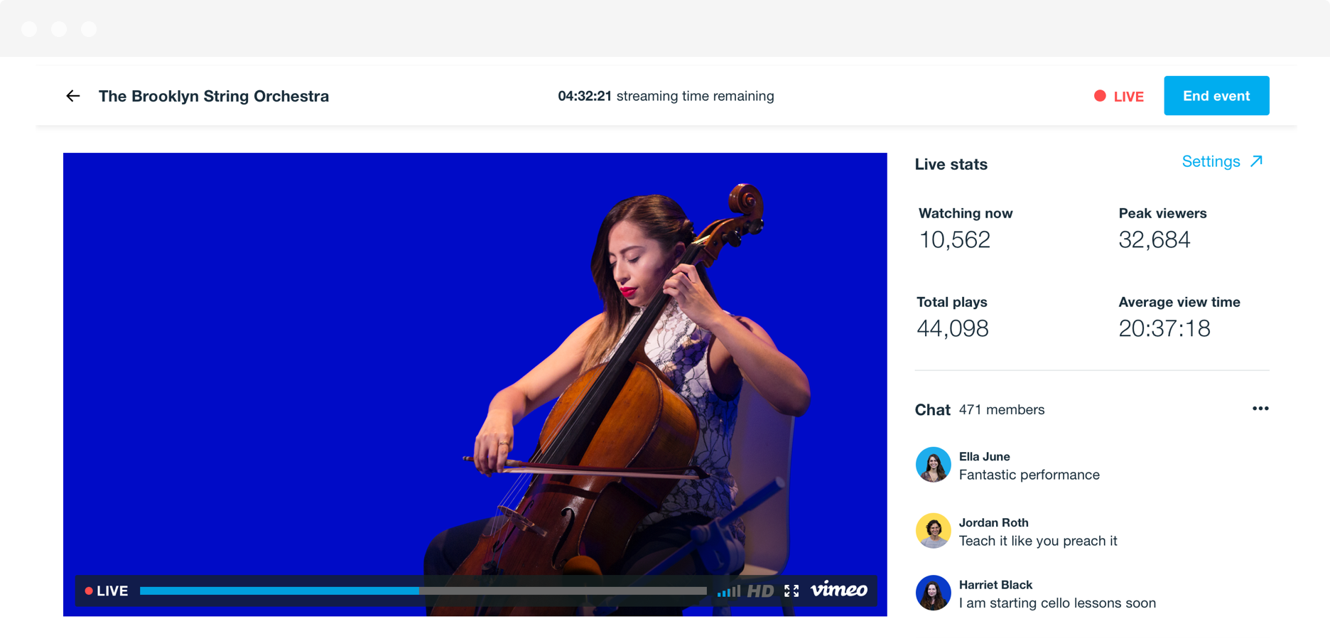 A static shot from a live stream of a cellist, showing the video player as well as the live stats and audience chat in real-time on the righthand side.